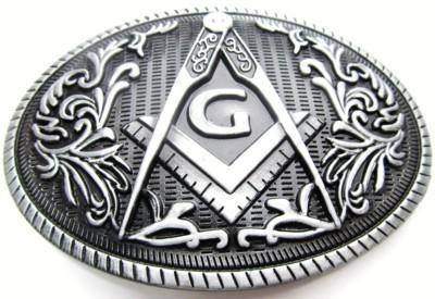 Free and Accepted Mason oval belt buckle Cufflinks, Studs & Lapel Pins
